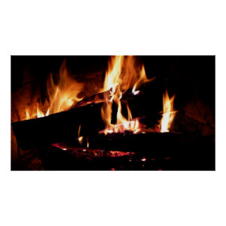 Meldet die Kamin-warme Feuer-Fotografie an Poster