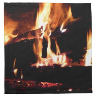 Meldet die Kamin-warme Feuer-Fotografie an Serviette