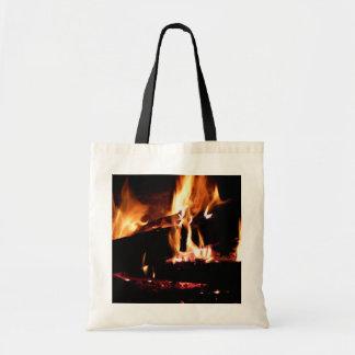 Meldet die Kamin-warme Feuer-Fotografie an Tragetasche