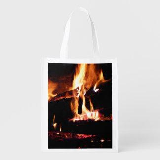 Meldet die Kamin-warme Feuer-Fotografie an Wiederverwendbare Einkaufstasche
