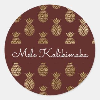 Mele Kalikimaka Ananas-Weihnachtsfeiertag Runder Aufkleber