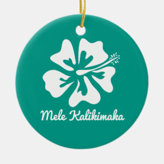 Mele Kalikimaka hawaiischer Blume Keramik Ornament