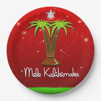 Mele Kalikimaka Palme für Weihnachten Pappteller