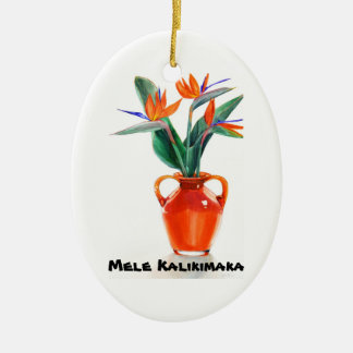 Mele Kalikimaka Paradiesvogel Oval-Verzierung Ovales Keramik Ornament