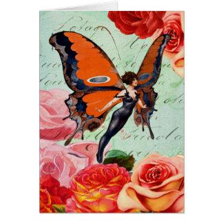 Menschlich-Tier hybride Schmetterlings-Frau mit Grußkarte