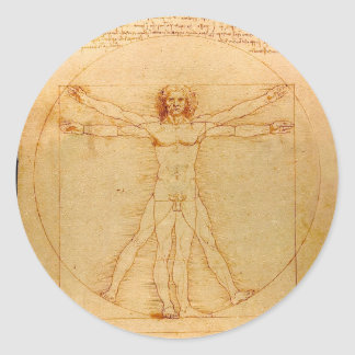 Menschliche Anatomie, Vitruvian Mann durch Runder Aufkleber