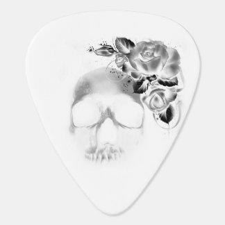 Menschlicher Schädel und Rosen Gitarren-Pick