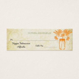 Menu coloré de mariage de fleur sauvage de pot de mini carte de visite