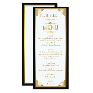 Menü-Hochzeit, Menüsitzung, großes Gatsby, Weiß, Karte