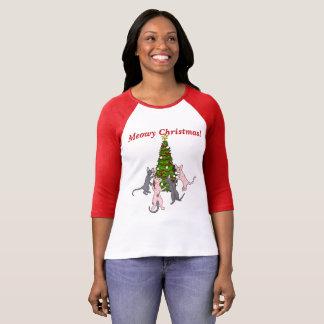 Meowy Weihnachten! Sphynx und Bambino-Katzen T-Shirt