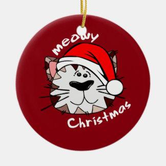 Meowy Weihnachtskreis-Keramik-Verzierung (rot) Keramik Ornament