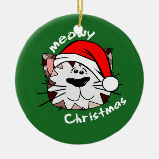 Meowy Weihnachtskreis-Verzierung (Grün) Keramik Ornament