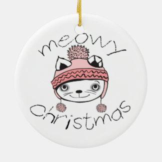 Meowy Weihnachtskreis-Verzierung Keramik Ornament