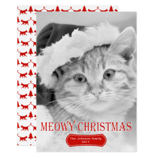 Meowy Weihnachtsrotes Kätzchenhaustier 12,7 X 17,8 Cm Einladungskarte