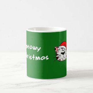 Meowy Weihnachtsweiß 11-Unze-klassische weiße Kaffeetasse