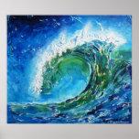 Mer d'océan de vague de peinture à l'huile de beau affiches