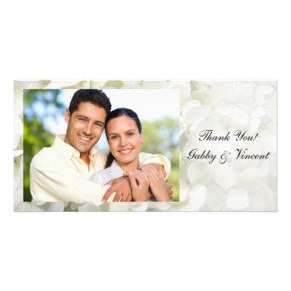 Merci blanc de mariage de fleur d'hortensia cartes avec photo