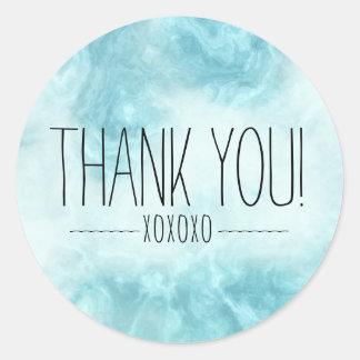 Merci bleu moderne chic XOXOXO de Boho Sticker Rond