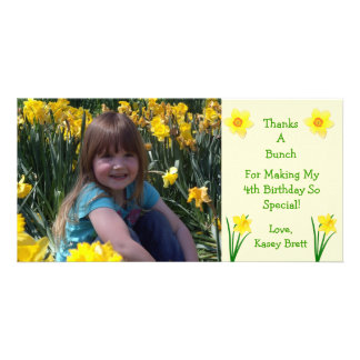 Merci crème de fleurs de jonquilles cartes avec photo