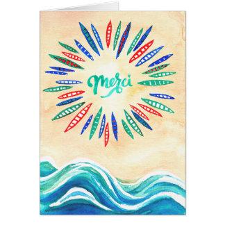"""""""Merci"""" danken Ihnen, mit Strand und Booten zu Mitteilungskarte"""