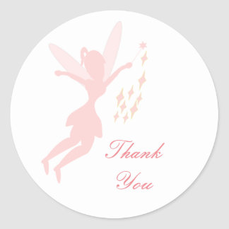 Merci féerique rose autocollants ronds