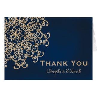 Merci indien de mariage de style de marine et d'or carte de correspondance