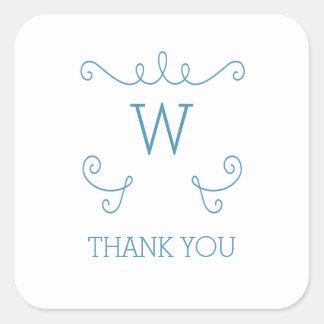 Merci lunatique bleu de monogramme de Flourish Sticker Carré