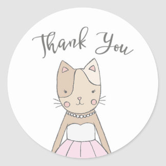 Merci mignon et lunatique de Kitty Sticker Rond