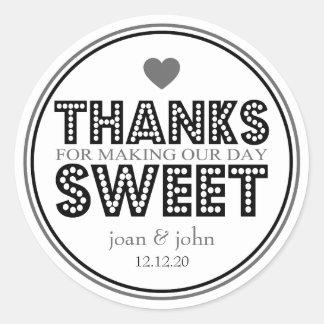 Merci pour faire notre bonbon à jour (noir/gris) sticker rond