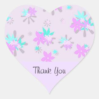 Merci pourpre lunatique de fleur autocollants en cœur