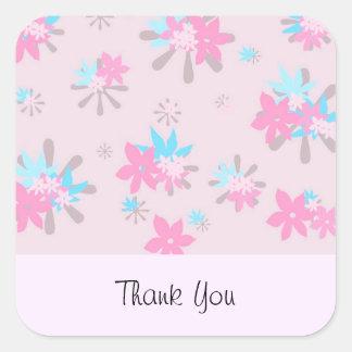 Merci rose lunatique de fleur sticker carré