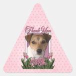 Merci - tulipes roses - Jack Russell Sticker En Triangle