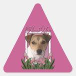 Merci - tulipes roses - Jack Russell Autocollant En Triangle
