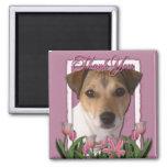Merci - tulipes roses - Jack Russell Magnets Pour Réfrigérateur