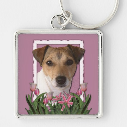 Merci - tulipes roses - Jack Russell Porte-clefs