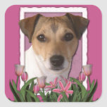 Merci - tulipes roses - Jack Russell Sticker Carré
