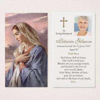 Mère sainte de carte funèbre de prière