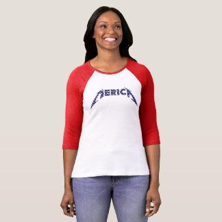 'Merica Shirt im Band-Schriftart - Blau mit weißen