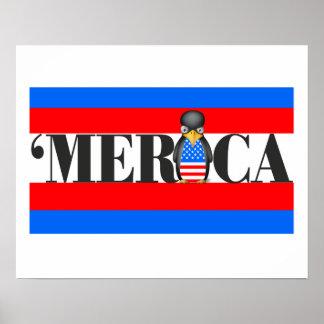 Merica u. ein umgekippter patriotischer Pinguin Poster