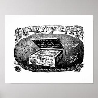 Merkwürdige Vintage Kartoffelanzeige Poster