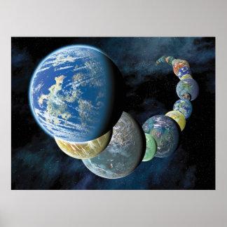Merkwürdiger neuer Weltalien-PlanetMontage Poster