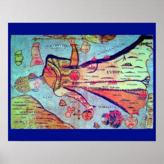 Merkwürdiges altes europäisches Karten-Bild: Poster