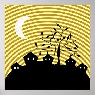 Merkwürdiges Dorf nachts Poster