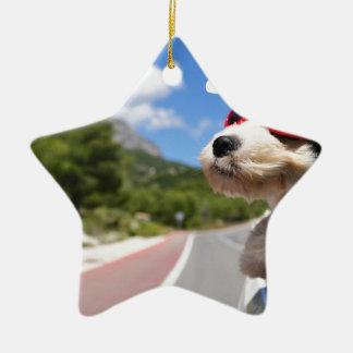 Merry Christmas dog Keramik Stern-Ornament