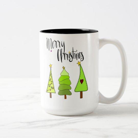 Merry Christmas Tannenbaum Zweifarbige Tasse