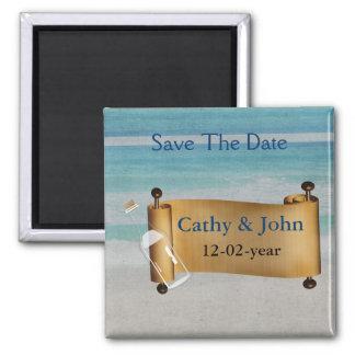 Message dans un mariage de plage de bouteille magnet carré
