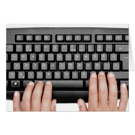 messageFeliz Happy 2014 keyboard 2014 Frieden und Karte