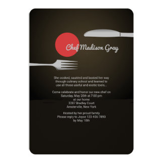 Messer-und Gabel-lädt kulinarischer SchulAbschluss 12,7 X 17,8 Cm Einladungskarte