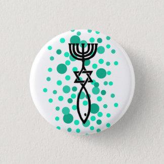 Messianisches Symbol mit Aqua-Punkten Runder Button 2,5 Cm