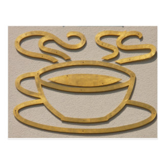 Messingkaffee-Zeichen Postkarte